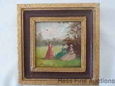 After RENOIR Miniature Oil on Board Painting Paris 1900 Impressionist Signed