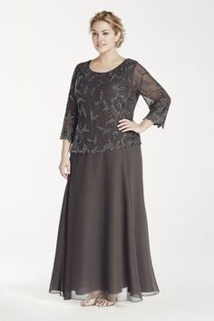 This dazzling mock two piece dress is perfect as a Mother of the Bride dress or anyone looking for a modest formal dress!  Long two piece chiffon dress with round neckline features long sleeve top with a floral beaded pattern and asymmetrical hem.  Designed by JKara.  Fully lined. No zipper. Imported polyester. Professional dry clean and spot clean.Also available in Missy sizes as Style 4398SE.