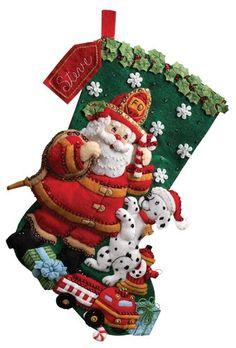 Bucilla Felt Applique Christmas Stocking Kit: Fireman Santa