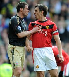 Gary Neville and Jamie Carragher Photos Photos: Manchester United v Liverpool - Premier League Manchester Unaited, Liverpool Vs Manchester United, Liverpool Premier League, Barclay Premier League, Liverpool Football Club, Liverpool Fc, Manchester England, Gary Neville