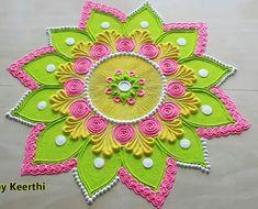 Very Easy Rangoli Designs, Indian Rangoli Designs, Rangoli Designs Latest, Rangoli Designs Flower, Free Hand Rangoli Design, Rangoli Border Designs, Small Rangoli Design, Colorful Rangoli Designs, Flower Rangoli