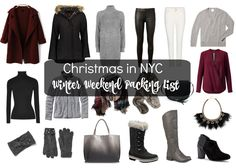 Christmas in New York City - What to Wear.  Packing list and outfits.  Christmas in New York, Packing List + Outfits http://getyourprettyon.com/winter-nyc-packing-list/?utm_campaign=coschedule&utm_source=pinterest&utm_medium=Alison%20Lumbatis%20%7C%20Get%20Your%20Pretty%20On&utm_content=Christmas%20in%20New%20York%2C%20Packing%20List%20%2B%20Outfits