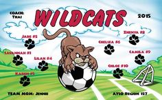 Wildcats-46271  digitally printed vinyl soccer sports team banner. Made in the USA and shipped fast by BannersUSA. www.bannersusa.com