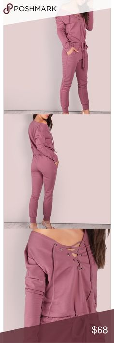 WAS 68.00ROSE OPEN SHOULDER OVERSIZED JUMPSUIT ❌PRICE FIRM NO OFFERS EXCEPTED ON FINAL CLEARANCE ❌Beautiful ROSE colored JUMPSUIT features open shoulder tie front. Well made heavy fabric. This is a seasons must have. Pants Jumpsuits & Rompers