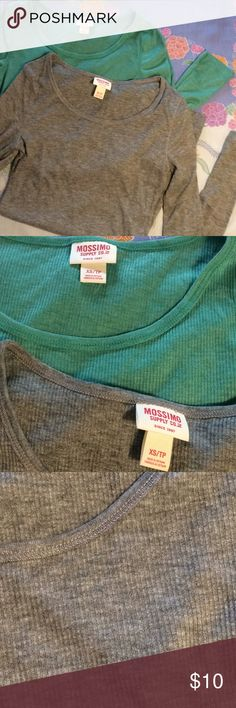 ✨2/10✨ Thin Ribbed Long Sleeve T-Shirts Impulse buy. Did not try these on. Soft and comfortable but too long for my petite body. Green/teal is a beautiful color. both worn a couple times each. Mossimo Supply Co. Tops Tees - Long Sleeve