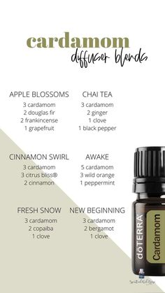 Cardamom Diffuser and Roller Blends | Pinterest Fall Essential Oils, Essential Oils Room Spray, Citrus Essential Oil, Essential Oil Perfume, Essential Oil Diffuser Blends, Essential Oils For Diarrhea, Cedarwood Essential Oil Uses, Essential Oils For Babies, Vetiver Essential Oil