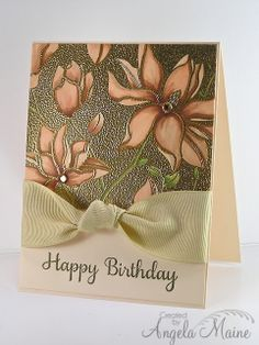"""By Angela Maine. What a lovely card! Stamp Hero Arts """"Large Blossom"""" negative stamp in VersaMark & heat emboss with gold powder. Color flowers with brown tone Copics. Stamp sentiment in Distress forest moss ink. Add ribbon & card base. So elegant!"""
