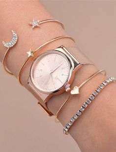 Cute Stacked Simple watch for fashionable women. Decorate your hand with simple watch and keep updated your work. #watch #watchfashion #womenwatch
