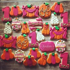Baby Girl First Birthday, Fall Birthday, Bday Girl, 1st Birthday Parties, Birthday Ideas, Pumpkin Birthday Cakes, Pumpkin 1st Birthdays, Birthday Cookies, First Birthdays
