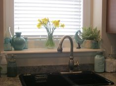 A Little Spring Decorating window sill decorations Window Ledge Decor, Kitchen Window Decor, Kitchen Images, Kitchen Pictures, Lavatory Design, Vinyl Flooring, House Design, Windows, Cabin Ideas
