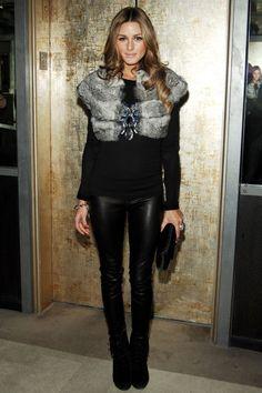 black & grey. fur vest.
