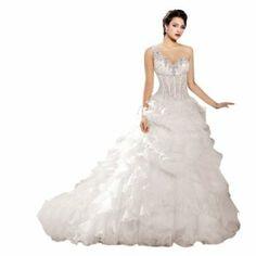 Dearta Women's Ball Gown One-Shoulder Chapel Train Organza Wedding Dresses