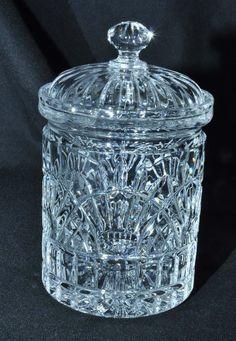 Gorgeous Vintage Antique Lead Crystal Bisquit Jar& Lid Vanity Jar MINT