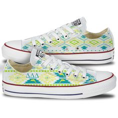 Delta Delta Delta Tribal Pattern Converse Low Tops - This pair of classic converse chucks features ΔΔΔ in a complete canvas Tribal Pattern . These custom Tri Delt Chucks are created and shipped direct Tri Delta, Delta Gamma, Theta, Custom Converse, Converse Shoes, Painted Canvas Shoes, Converse Low Tops, Shoe Company, Chi Omega