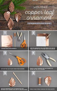 Copper Leaf Ornaments - Lia Griffith - www.liagriffith.com #diyornaments #diychristmas #diyholiday #diyholidays #diychristmasornaments #diyinspiration #diyproject #DIYprojects #madewithlia