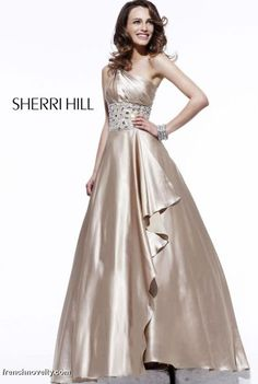 Sherri Hill elegant gold prom dress (really like the bodice of this one. Not sure about how you'd feel about the bottom.)