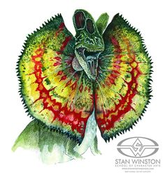 Among many versions, this was the final color scheme selection for the Dilophosaur aka Spitter.
