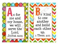 Alphabet  Bible Verse Cards Printable by pinkpetalpress on Etsy, $20.00