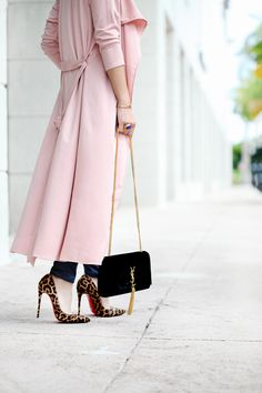 Blame it on Mei Miami Fashion Blogger 2017 Casual Valentines Day Look Pink Duster with High-Rise Jeans and YSL Suede Tassel Handbag Leopard Louboutin Heels