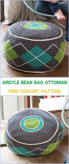 Crochet Argyle Bean Bag Ottoman Free Pattern - #Crochet;  Poufs & Ottoman Free Patterns
