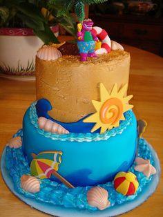Cute beach cake...minus the Barney on top...lol
