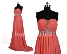 Long Coral BridesmaId Dreses Beaded Prom Dresses by Happybridal, $92.00