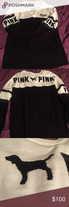 Victoria secret bling laced up crew varsity Only worn once for a few minutes, this sweater style IS SOOOOO ADORABLE, I just don't like how it's mainly black (would love to swap for a different color) price listed is just to show for trades, feel free to make offers through the feature if you're interested in purchasing 😊 PINK Victoria's Secret Sweaters Crew & Scoop Necks
