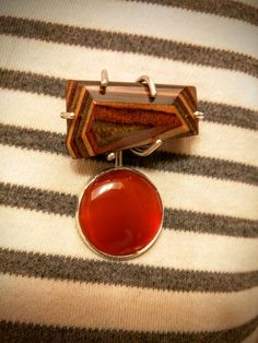 Laminated wood and carnelian brooch Holly Wrangell 2016