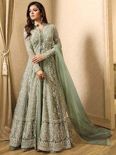 Olive+Green+Color+Latest+Pakistani+long+wedding+eid+Special+Anarkali