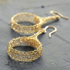 Tribal design earrings Wire crocheted large dangle hoop earrings Gold unique handmade jewelry. $55.00, via Etsy.