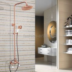 "150.00$  Buy here - http://ali4id.worldwells.pw/go.php?t=32658416689 - ""Rainfall Shower Faucet Mixer Tap Set Bathroom Dual Ceramics Lever 8"""" Inch Rain Shower Head Antique Red Copper Brass arg586"""