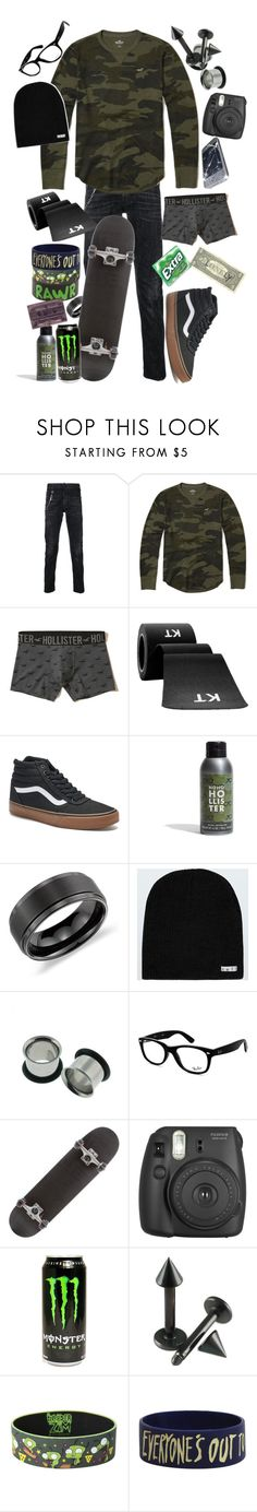 """"""".:all these letters that i wrote for you burn:."""" by dontfallasleepatthehelmm on Polyvore featuring Dsquared2, Hollister Co., Vans, Blue Nile, Neff, Ray-Ban, Hot Topic, Fujifilm and Junk Food Clothing"""