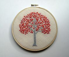 Spring Tree Hand Embroidered Wall Wear in 6 inch wood от mlmxoxo