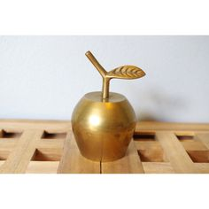 Vintage Brass Apple Bell Solid Brass Apple Bell, Desk Accessory,... ($20) ❤ liked on Polyvore featuring home, home decor and office accessories