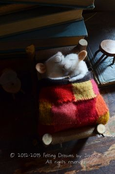 Sleeping Mice - quilting - unique - needle felted ornament animal, felting dreams READY TO SHIP
