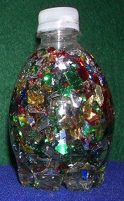 Discovery bottles  1) fill with clear corn syrup and glitter confetti  2) fill with half water and half baby oil, add 5 drops of blue food colouring  3) fill with metal objects, have students hold a magnet wand on the outside to move things around