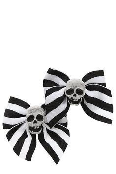 Black And White Stripe Skull Ribbon Bow Hair Clips