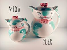 Vintage Cats Teapot and Sugar Bowl White Blue by ConstantlyAlice, $32.00
