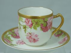 Vintage Limoges Haviland White Gold Pink Roses Demitasse Cup Saucer Set