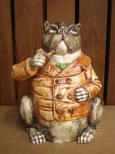 majolica pottery | 2430: Majolica Pottery Bulldog Humidor