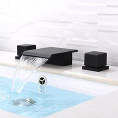 Moda Matte Black Waterfall Widespread Bathroom Sink Faucet Square Double Handle Solid Brass - Lilly is Love Bathroom Plants, Bathroom Sink Faucets, Concrete Bathroom, Bathroom Cabinets, Sinks, Modern Master Bathroom, Small Bathroom, Bathroom Black, Contemporary Bathroom Faucets