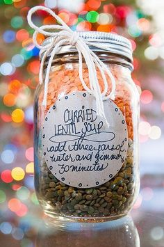 A Healthy Food Gift that is perfect for the cold winter nights: A jar of Curried Lentil Soup. Recipe and Gift Idea on Definitely Not Martha.