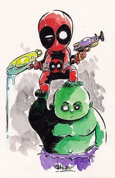 Baby Hulk and Deadpool Art Print by Ferry Ickhwano