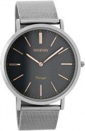 Oozoo Ultra Slim Vintage Uhr C7393 - rose/dunkelgrau - 40 mm - Meshband
