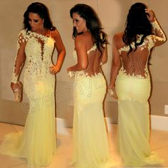 Sexy See Through Lace Mermaid Charming Yellow Evening Dresses With One Long Sleeve Prom Dresses 2014 Vestidos De Fiesta $149.00