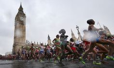 A damp start for the competitors taking part in the women's marathon near the Houses of Parliament