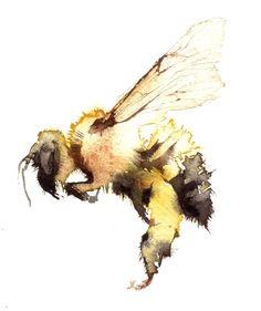 Bee(watercolor) by Kate Osborne.