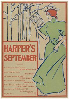 Edward Penfield (American, 1866–1925). HARPER'S / SEPTEMBER / [contents], 1895. The Metropolitan Museum of Art, New York.  Gift of Bessie Potter Vonnoh, 1941 (41.12.74)