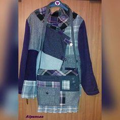 Пэчворковый комплект, который с удовольствием носит моя мама. Использовала много хороших, почти не ношенных вещей. Такой вот кастомайзинг 😉  Patchwork jacket and crossbodybag for my mom, totally upcycled  #patchwork #patchworkclothing #upcycled #style #creative #пэчворк #кастомайзинг #стиль #alpensee_bags #alpensee_clothes