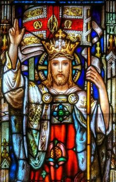 Our Lord Jesus Christ, King of the Universe. Christ the King stained glass window Stained Glass Church, Stained Glass Art, Stained Glass Windows, Religious Pictures, Jesus Pictures, Catholic Art, Religious Art, Roman Catholic, Christ The King
